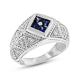18k White Gold 1.25 Ct. Vintage Inspired Diamond & Sapphire Filigree Ring