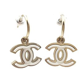 Chanel Gold Tone CC White Piercing Earrings
