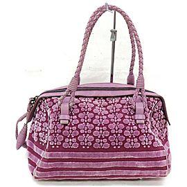 Bottega Veneta 872323 Floral Boston Purple Corduroy Satchel
