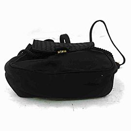 Bottega Veneta Intrecciato Woven 860040 Black Silk Backpack
