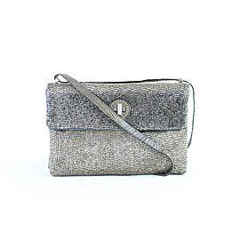Bottega Veneta Crossbody Mesh Turnlock Flap 9bvr1106 Silver Leather Shoulder Bag