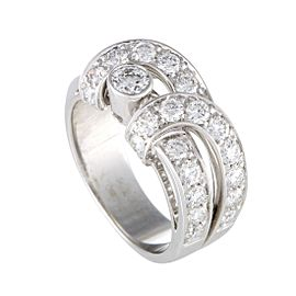 Boucheron 18K White Gold 1.85ct. Diamond Pave Band Ring Size 7.5