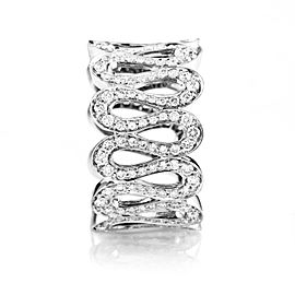 Boucheron 18K White Gold Wavy Diamond Band Ring