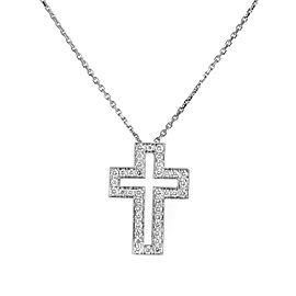 Boucheron 18K White Gold Diamond Cross Pendant Necklace