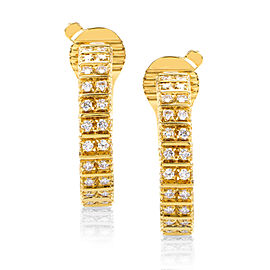 Boucheron 18K Yellow Gold 1.35ct Diamond Hoop Earrings