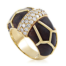 Boucheron 18K Yellow Gold Diamond & Wood Band Ring Sz 6