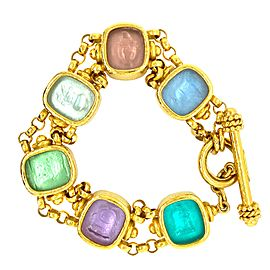 Elizabeth Locke 18k Gold Venetian Glass Intaglio Animal Bracelet