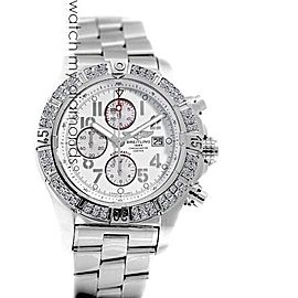 Breitling Super Avenger Watch White Dial Model Custom Diamond Bezel SS Watch A13370