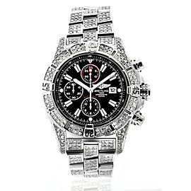 Breitling Super Avenger Watch Black Dial Model Custom Diamond Watch A13370