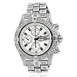 Breitling Super Avenger Watch White Dial Model Custom Diamond Watch A13370