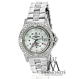 Breitling Colt A32350 Mother Of Pearl Dial Automatic Steel Custom Diamond Watch