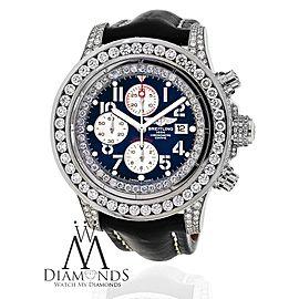 Breitling Super Avenger SS Black Leather Strap Custom Diamond Watch A13370