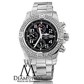 Breitling Super Avenger II A1337111/G779 Stainless Steel Watch Custom Diamond Bezel