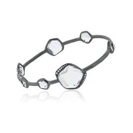 Ippolita Wicked Sterling Silver with Black Rodium Quartz Diamond Bangle Bracelet
