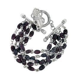 Stephen Dweck Sterling Silver & Ruby Multi-Row Bracelet