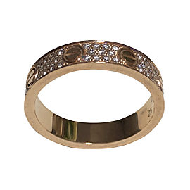 Cartier Love 18K Rose Gold Diamond-Paved Wedding Band Ring Size 5.25