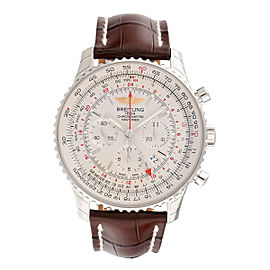 Breitling Navitimer GMT AB044121-G783 Automatic Silver Dial Brown Leather 48mm Men's Watch