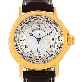 Breguet Marine Hora Mundi 3700 18K Yellow Gold & Leather Automatic 38mm Mens Watch