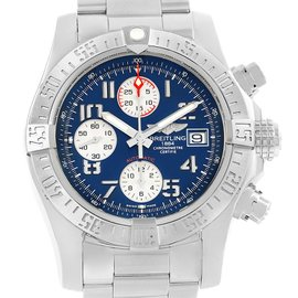 Breitling Aeromarine Super Avenger A13381 Stainless Steel Blue Dial Automatic 43mm Mens Watch