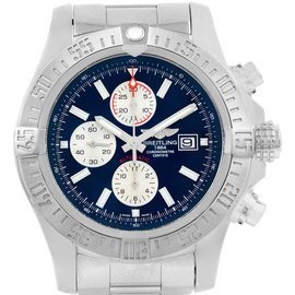 Breitling A13371 Aeromarine Super Avenger Blue Dial Stainless Steel 48mm Mens Watch