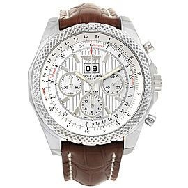 Breitling Bentley A44364 Stainless Steel & Leather Silver Dial Automatic 48.7mm Mens Watch