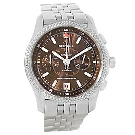 Breitling Bentley Mark VI P26362 Stainless Steel Platinum Brown Dial 43mm Mens Watch