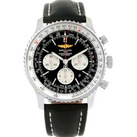 Breitling Navitimer 01 AB0127 Stainless Steel & Leather Strap Black Dial Automatic 46mm Mens Watch