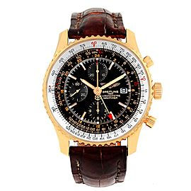 Breitling Navitimer World H24322 18K Rose Gold & Leather Black Dial Automatic 46mm Mens Watch