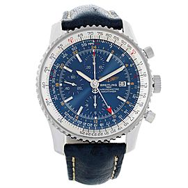 Breitling Navitimer World Chrono GMT A24322 Stainless Steel Blue Dial 46mm Mens Watch
