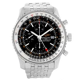 Breitling Navitimer World GMT A24322 Black Dial Stainless Steel Bracelet 46mm Mens Watch