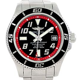 Breitling Superocean A17364 Stainless Steel Black Red Automatic 42mm Mens Watch