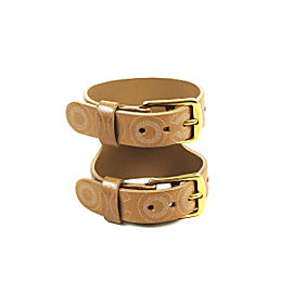 Chanel Coco Leather Double Buckle Cuff Bracelet