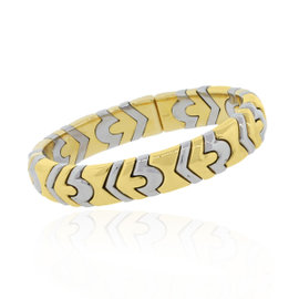 Bulgari Two Tone 18K Yellow & White Gold Cuff Bracelet