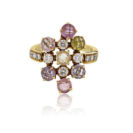 Bulgari 18K Yellow Gold Sapphire and Diamond Cluster Ring Size 8