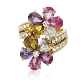 Bulgari 18K Yellow Gold Sapphire Diamond Flower Cocktail Ring Size 7.25