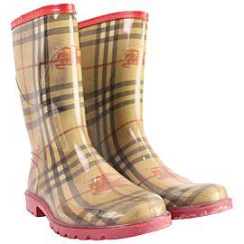 Burberry Beige x Red Womens 38 Nova Check Rainboots 25bur858