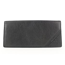 Burberrys Black Leather Nova Check Flap Wallet 679bur318