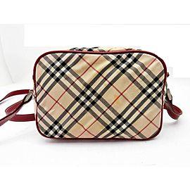 Burberry Blue Label Burgundy Nova Check Crossbody Bag 241108