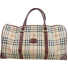 Burberry Duffle Boston Nova Check 871444 Beige Coated Canvas Weekend/Travel Bag