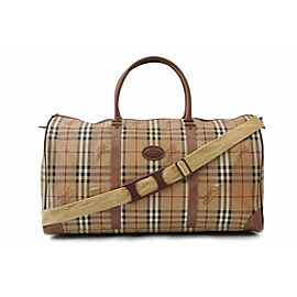 Burberry Duffle Boston with Strap Nova Check 872418 Brown/Beige Coated Canvas Weekend/Travel Bag