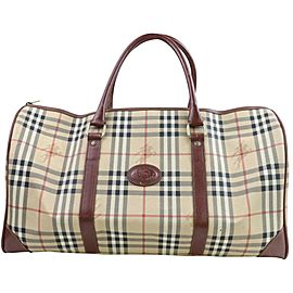 Burberry Duffle Nova Check Boston 871445 Brown Coated Canvas Weekend/Travel Bag