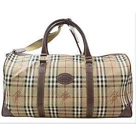 Burberry Duffle Nova Check Boston with Strap 1bur615 Beige Coated Canvas Weekend/Travel Bag