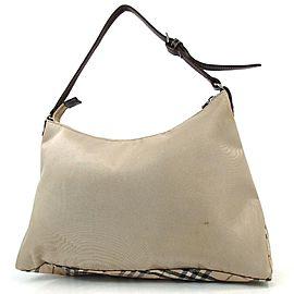 Burberry Hobo Nova Check 872778 Beige Canvas Shoulder Bag
