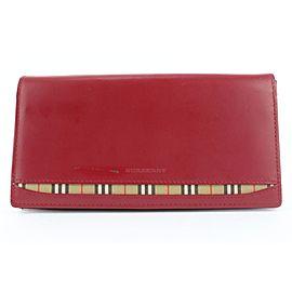 Burberry Red Leather Nova Check Flap Long Wallet 674bur318