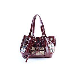 Burberry Supernova Armored Baby Beaton 20bur0424 Burgundy X Nova Check Patent Leather Hobo Bag