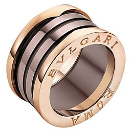 Bvlgari BZero1 18K Rose Gold and Bronze Ceramic 4 Band Ring Size US 7.75 EU 56