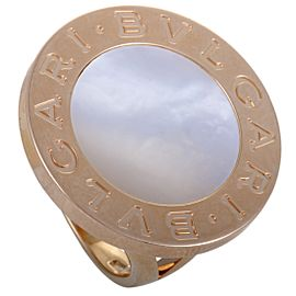 Bulgari 18K Rose Gold with Mother of Pearl Round Ring Size 6.25