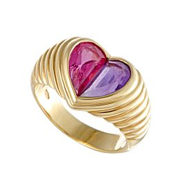 Bulgari Doppio 18K Yellow Gold Pink Tourmaline and Purple Amethyst Heart Ring Size 6.75