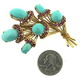 18K Yellow Gold with 4.5ctw. Turquoise and Ruby Brooch
