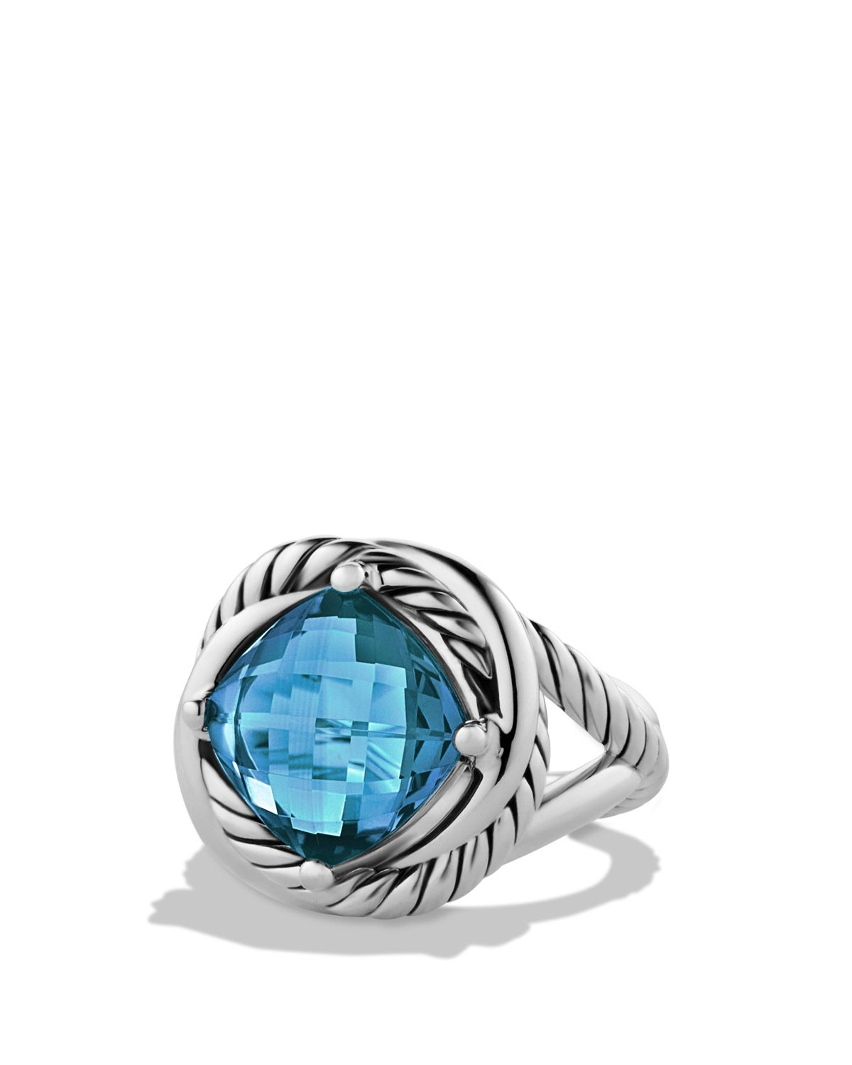 David Yurman Sterling Silver With Blue Topaz Infinity Ring Size 7 At Truefacet